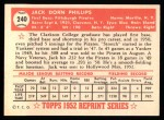 1952 Topps REPRINT #240  Jack Phillips  Back Thumbnail