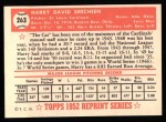 1952 Topps REPRINT #263  Harry Brecheen  Back Thumbnail