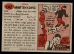 1957 Topps #142  John Martinkovic  Back Thumbnail