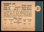 1961 Fleer #27  George Lee  Back Thumbnail