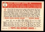 1952 Topps REPRINT #6  Grady Hatton  Back Thumbnail