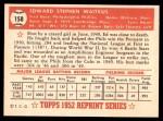 1952 Topps REPRINT #158  Eddie Waitkus  Back Thumbnail