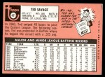 1969 Topps #471 WN Ted Savage  Back Thumbnail