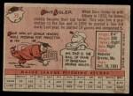1958 Topps #59 xBOX Dave Sisler  Back Thumbnail