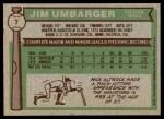 1976 Topps #7  Jim Umbarger  Back Thumbnail