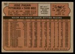 1972 Topps #701  Jose Pagan  Back Thumbnail