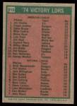 1975 Topps #310   -  Catfish Hunter / Ferguson Fergie Jenkins / Andy Messersmith / Phil Niekro Victory Leaders Back Thumbnail