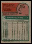 1975 Topps #110  Wilbur Wood  Back Thumbnail