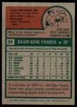 1975 Topps #29  Dave Parker  Back Thumbnail