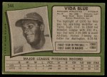 1971 Topps #544  Vida Blue  Back Thumbnail