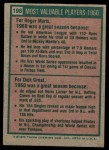 1975 Topps #198   -  Roger Maris / Dick Groat 1960 MVPs Back Thumbnail