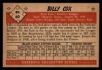 1953 Bowman B&W #60  Billy Cox  Back Thumbnail