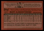 1982 Topps Traded #39 T Ron Gardenhire  Back Thumbnail