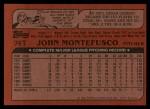 1982 Topps Traded #74 T John Montefusco  Back Thumbnail