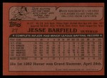 1982 Topps Traded #2 T Jesse Barfield  Back Thumbnail