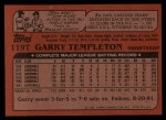 1982 Topps Traded #119 T Garry Templeton  Back Thumbnail
