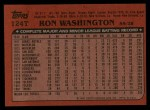 1982 Topps Traded #124 T Ron Washington  Back Thumbnail