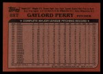 1982 Topps Traded #88 T Gaylord Perry  Back Thumbnail