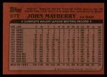 1982 Topps Traded #67 T John Mayberry  Back Thumbnail