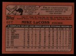 1982 Topps Traded #61 T Mike LaCoss  Back Thumbnail