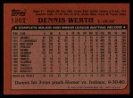 1982 Topps Traded #126 T Dennis Werth  Back Thumbnail