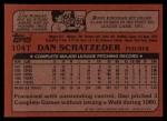 1982 Topps Traded #104 T Dan Schatzeder  Back Thumbnail