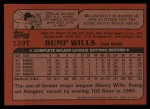 1982 Topps Traded #129 T Bump Wills  Back Thumbnail