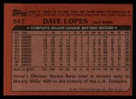 1982 Topps Traded #64 T Dave Lopes  Back Thumbnail