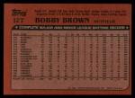 1982 Topps Traded #12 T Bobby Brown  Back Thumbnail