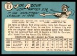 1965 Topps #514  Joe Azcue  Back Thumbnail