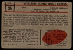 1953 Bowman #96  William Cross  Back Thumbnail