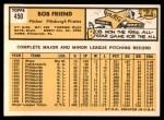 1963 Topps #450  Bob Friend  Back Thumbnail