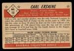 1953 Bowman #12  Carl Erskine  Back Thumbnail