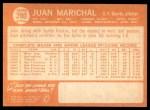 1964 Topps #280  Juan Marichal  Back Thumbnail