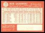 1964 Topps #271  Bob Sadowski  Back Thumbnail