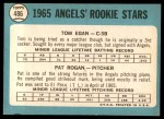 1965 Topps #486   -  Tom Egan / Pat Rogan Angels Rookies Back Thumbnail