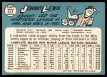 1965 Topps #277  Johnny Lewis  Back Thumbnail