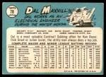 1965 Topps #78  Dal Maxvill  Back Thumbnail