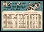1965 Topps #570  Claude Osteen  Back Thumbnail