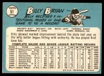 1965 Topps #51  Bill Bryan  Back Thumbnail