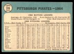 1965 Topps #209   Pirates Team Back Thumbnail