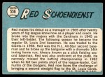 1965 Topps #556  Red Schoendienst  Back Thumbnail