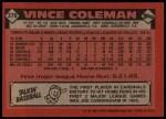 1986 Topps #370  Vince Coleman  Back Thumbnail