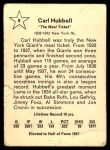 1961 Golden Press #6  Carl Hubbell     Back Thumbnail