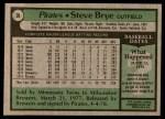 1979 Topps #28  Steve Brye  Back Thumbnail