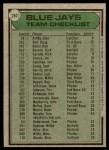 1979 Topps #282   -  Roy Hartsfield  Blue Jays Team Checklist Back Thumbnail