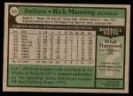 1979 Topps #425  Rick Manning  Back Thumbnail