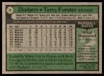 1979 Topps #23  Terry Forster  Back Thumbnail