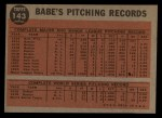 1962 Topps #143 GRN  -  Babe Ruth Greatest Sports Hero Back Thumbnail