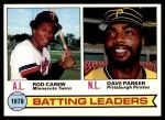 1979 Topps #1   -  Rod Carew / Dave Parker Batting Leaders   Front Thumbnail